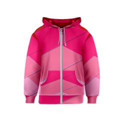 Geometric Shapes Magenta Pink Rose Kids  Zipper Hoodie