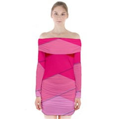 Geometric Shapes Magenta Pink Rose Long Sleeve Off Shoulder Dress by Nexatart