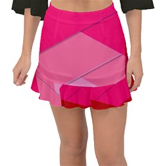 Geometric Shapes Magenta Pink Rose Fishtail Mini Chiffon Skirt by Nexatart