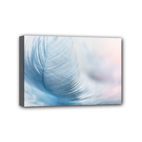 Feather Ease Slightly Blue Airy Mini Canvas 6  X 4
