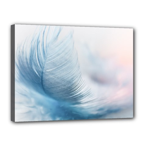 Feather Ease Slightly Blue Airy Canvas 16  X 12  by Nexatart