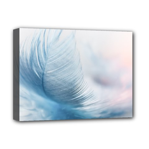 Feather Ease Slightly Blue Airy Deluxe Canvas 16  X 12   by Nexatart