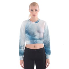 Feather Ease Slightly Blue Airy Cropped Sweatshirt by Nexatart