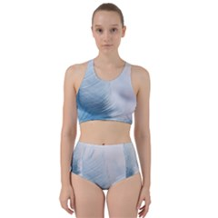 Feather Ease Slightly Blue Airy Racer Back Bikini Set by Nexatart