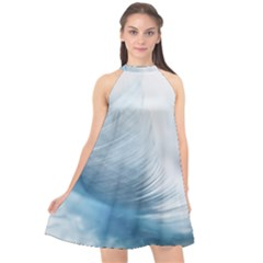 Feather Ease Slightly Blue Airy Halter Neckline Chiffon Dress