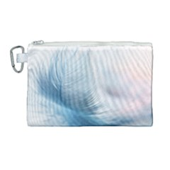Feather Ease Slightly Blue Airy Canvas Cosmetic Bag (large) by Nexatart