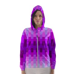 Geometric Cubes Pink Purple Blue Hooded Wind Breaker (women)