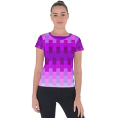 Geometric Cubes Pink Purple Blue Short Sleeve Sports Top