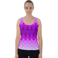 Geometric Cubes Pink Purple Blue Velvet Tank Top