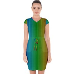 Spectrum Colours Colors Rainbow Capsleeve Drawstring Dress