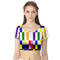 Rainbow Color Blocks Red Orange Short Sleeve Crop Top