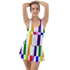 Rainbow Color Blocks Red Orange Swimsuit
