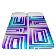 Geometric 3d Metallic Aqua Purple Fitted Sheet (queen Size)