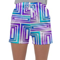 Geometric 3d Metallic Aqua Purple Sleepwear Shorts