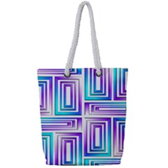 Geometric 3d Metallic Aqua Purple Full Print Rope Handle Tote (small)