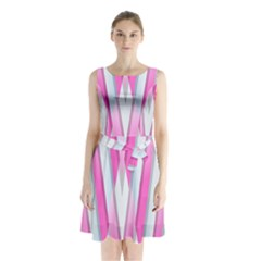 Geometric 3d Design Pattern Pink Sleeveless Waist Tie Chiffon Dress