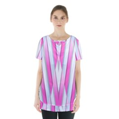 Geometric 3d Design Pattern Pink Skirt Hem Sports Top by Nexatart
