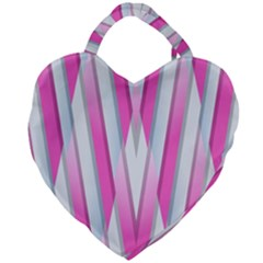 Geometric 3d Design Pattern Pink Giant Heart Shaped Tote