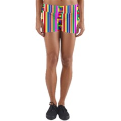 Rainbow Geometric Design Spectrum Yoga Shorts