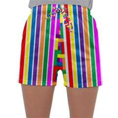 Rainbow Geometric Design Spectrum Sleepwear Shorts