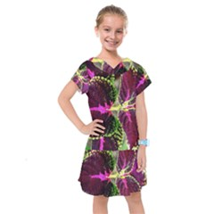 Plant Purple Green Leaves Garden Kids  Drop Waist Dress