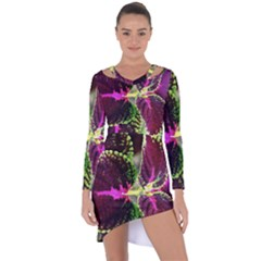 Plant Purple Green Leaves Garden Asymmetric Cut Out Shift Dress