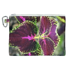 Plant Purple Green Leaves Garden Canvas Cosmetic Bag (xl) by Nexatart