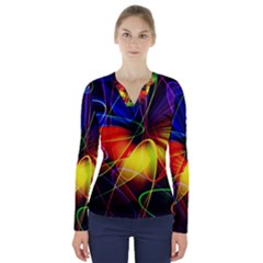 Fractal Pattern Abstract Chaos V Neck Long Sleeve Top