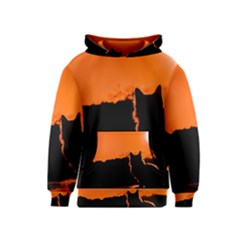 Sunset Cat Shadows Silhouettes Kids  Pullover Hoodie