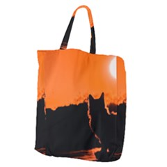 Sunset Cat Shadows Silhouettes Giant Grocery Zipper Tote