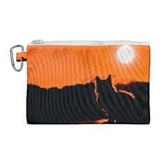 Sunset Cat Shadows Silhouettes Canvas Cosmetic Bag (large)
