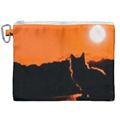 Sunset Cat Shadows Silhouettes Canvas Cosmetic Bag (xxl) by Nexatart