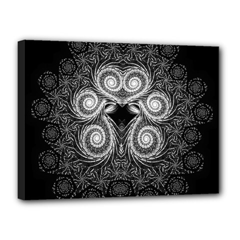 Fractal Filigree Lace Vintage Canvas 16  X 12