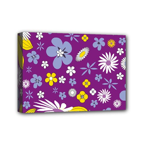 Floral Flowers Mini Canvas 7  X 5