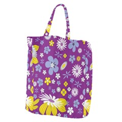 Floral Flowers Giant Grocery Zipper Tote