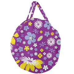 Floral Flowers Giant Round Zipper Tote