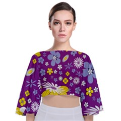 Floral Flowers Tie Back Butterfly Sleeve Chiffon Top
