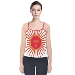 Peru Sun Of May, 1822 1825 Velvet Spaghetti Strap Top