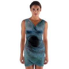 Cosmic Black Hole Wrap Front Bodycon Dress