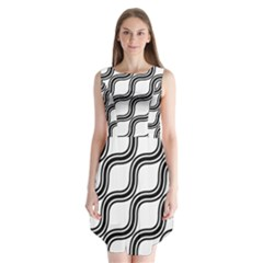 Diagonal Pattern Background Black And White Sleeveless Chiffon Dress