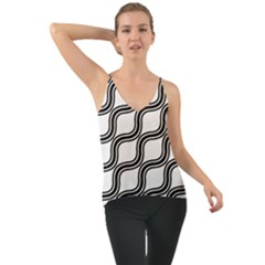 Diagonal Pattern Background Black And White Cami