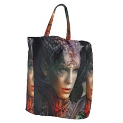 Digital Fantasy Girl Art Giant Grocery Zipper Tote