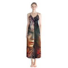 Digital Fantasy Girl Art Button Up Chiffon Maxi Dress