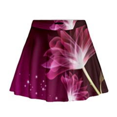 Drawing Flowers Lotus Mini Flare Skirt by Sapixe