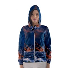 Eruption Of Volcano Sea Full Moon Fantasy Art Hooded Wind Breaker (women) by Sapixe
