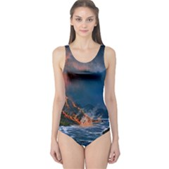 Eruption Of Volcano Sea Full Moon Fantasy Art One Piece Swimsuit by Sapixe