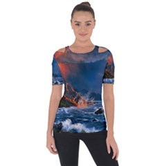 Eruption Of Volcano Sea Full Moon Fantasy Art Short Sleeve Top by Sapixe