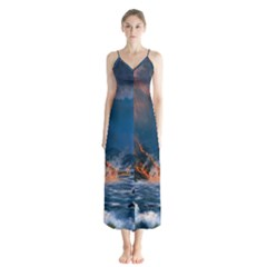 Eruption Of Volcano Sea Full Moon Fantasy Art Button Up Chiffon Maxi Dress