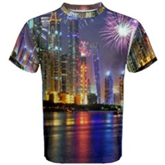 Dubai City At Night Christmas Holidays Fireworks In The Sky Skyscrapers United Arab Emirates Men s Cotton Tee