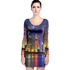 Dubai City At Night Christmas Holidays Fireworks In The Sky Skyscrapers United Arab Emirates Long Sleeve Velvet Bodycon Dress